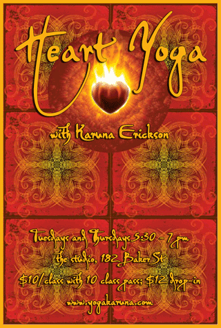 Nelson, BC yoga classes with Karuna Erickson at The Studio, 182 Baker Street